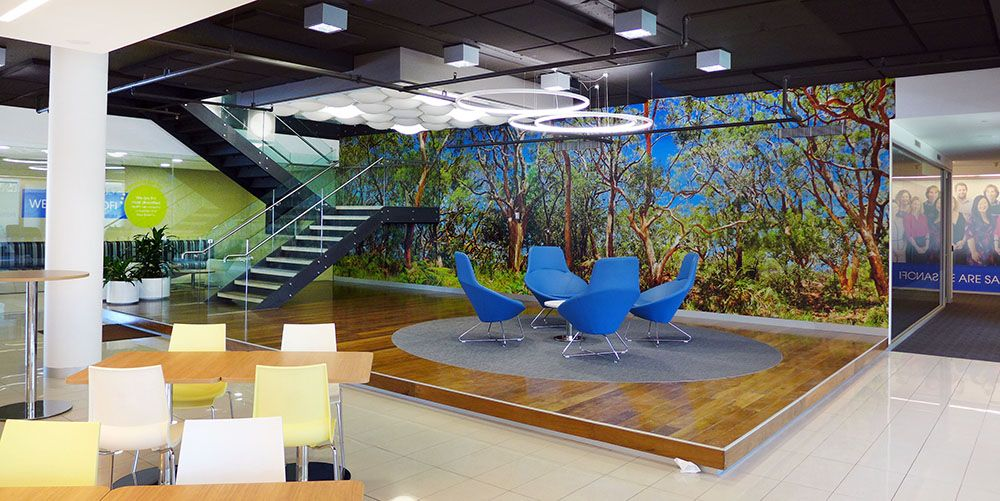 wide angle view busy design office. wide angle of our forest theme wall murals for sydney office view busy design p