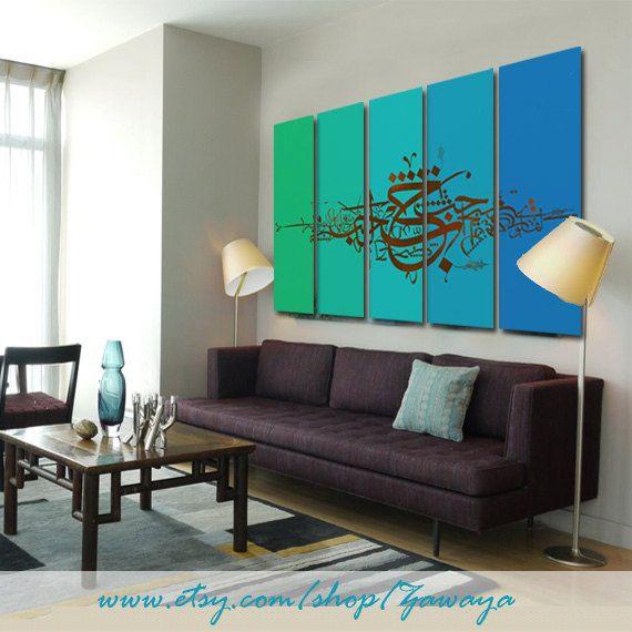 Blue+turquoise+green+canvas+painting+print+wall+art+by+Zawaya,+$ ...
