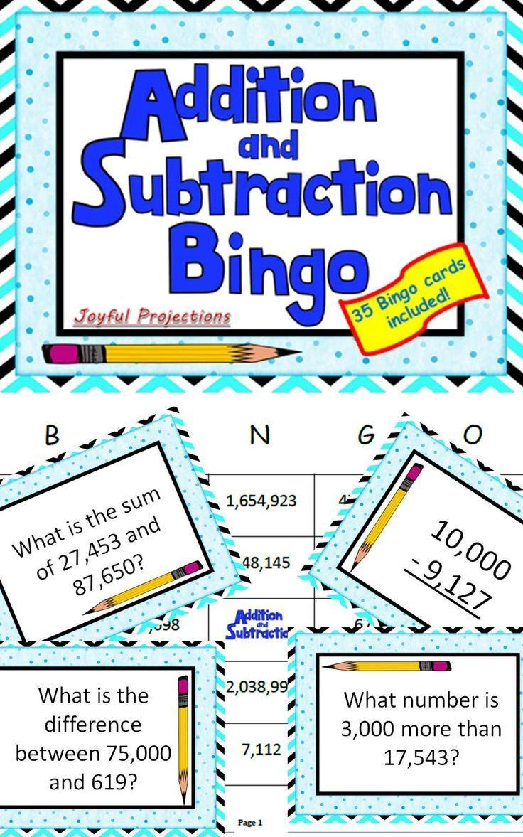 Addition and Subtraction Bingo - Classroom Activity w/ 35 Bingo ...