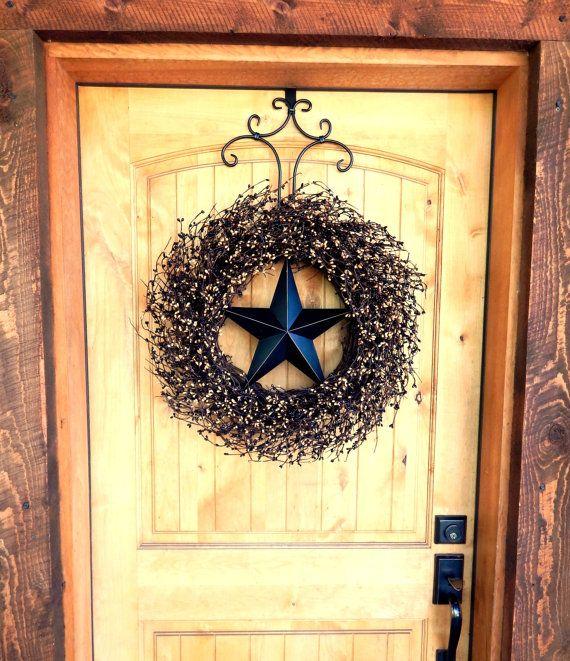 Primitive Rustic Wreath Americana Star Door LARGE BLACK TAN Country Decor