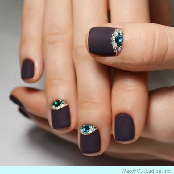 Nail Design For Short Nails Black Matte with jewels | Nail Art ...