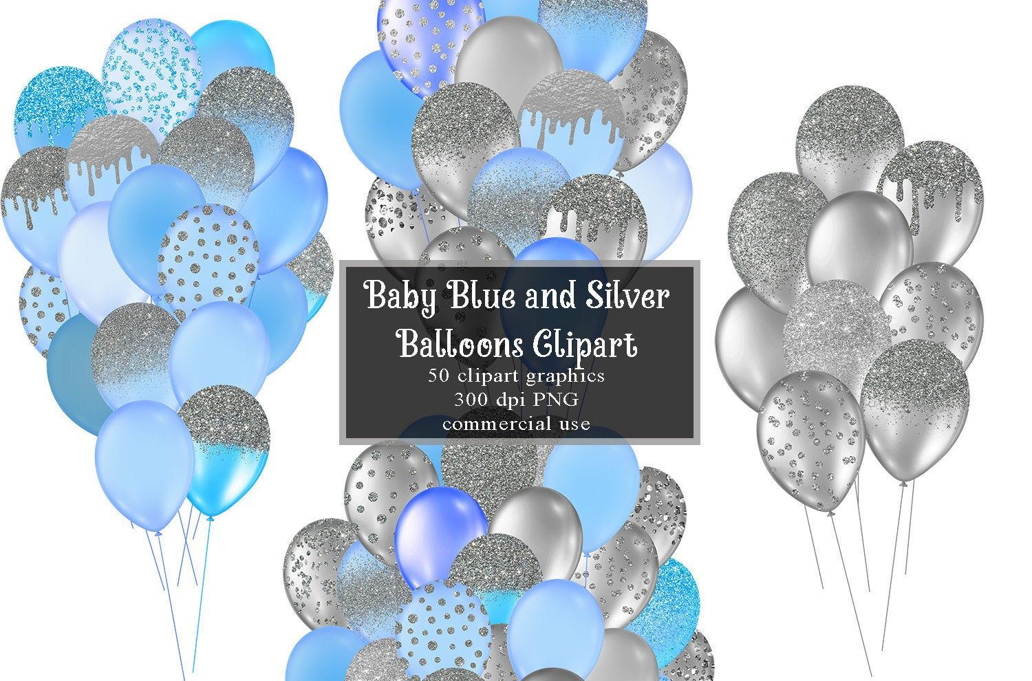 Baby Blue And Silver Balloons Clipart Glitter Balloon Png Etsy Clip Art Glitter Balloons Balloon Clipart