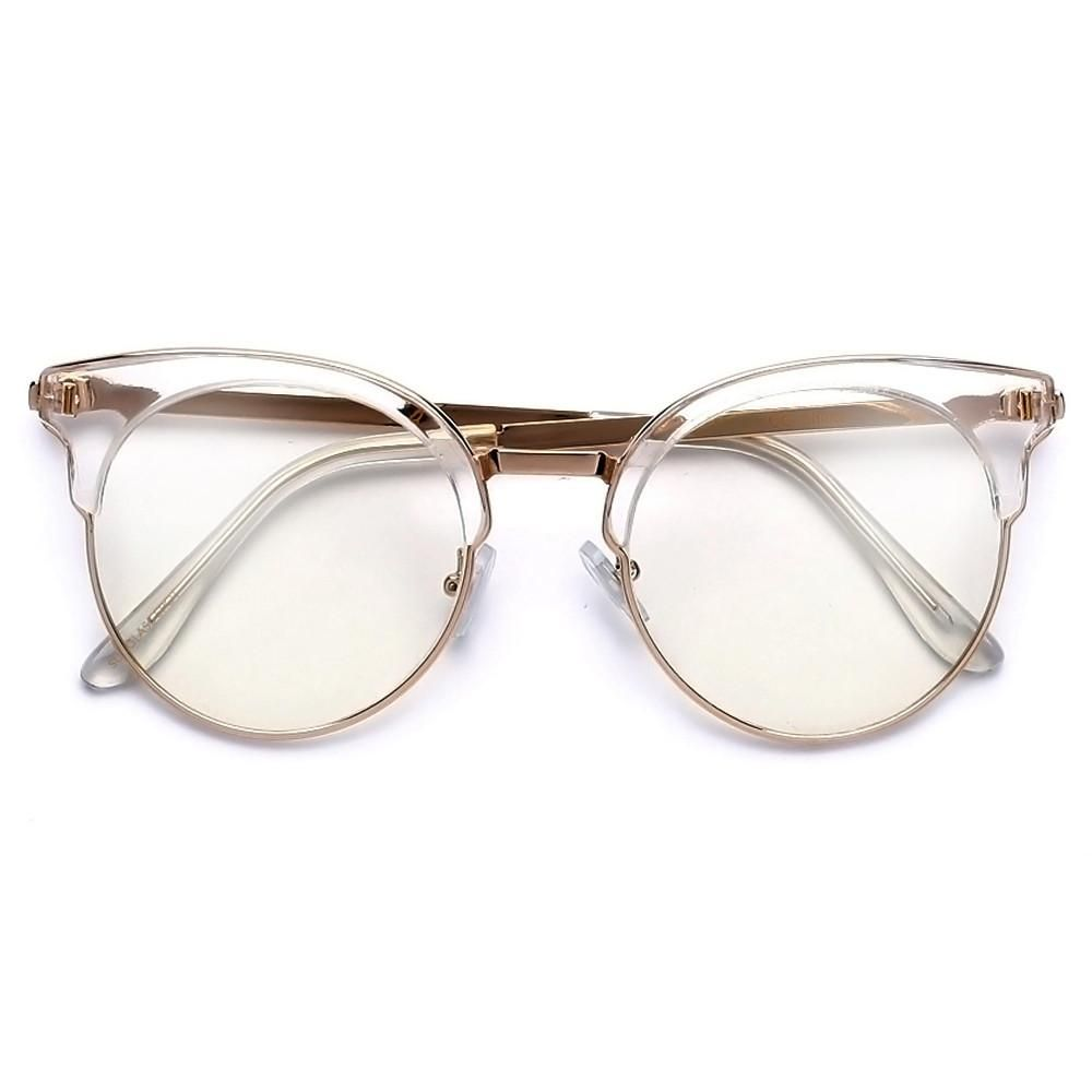 Sleek Crystal Clear Frame Cat Eye Silhouette Eyewear | Eye Glasses ...