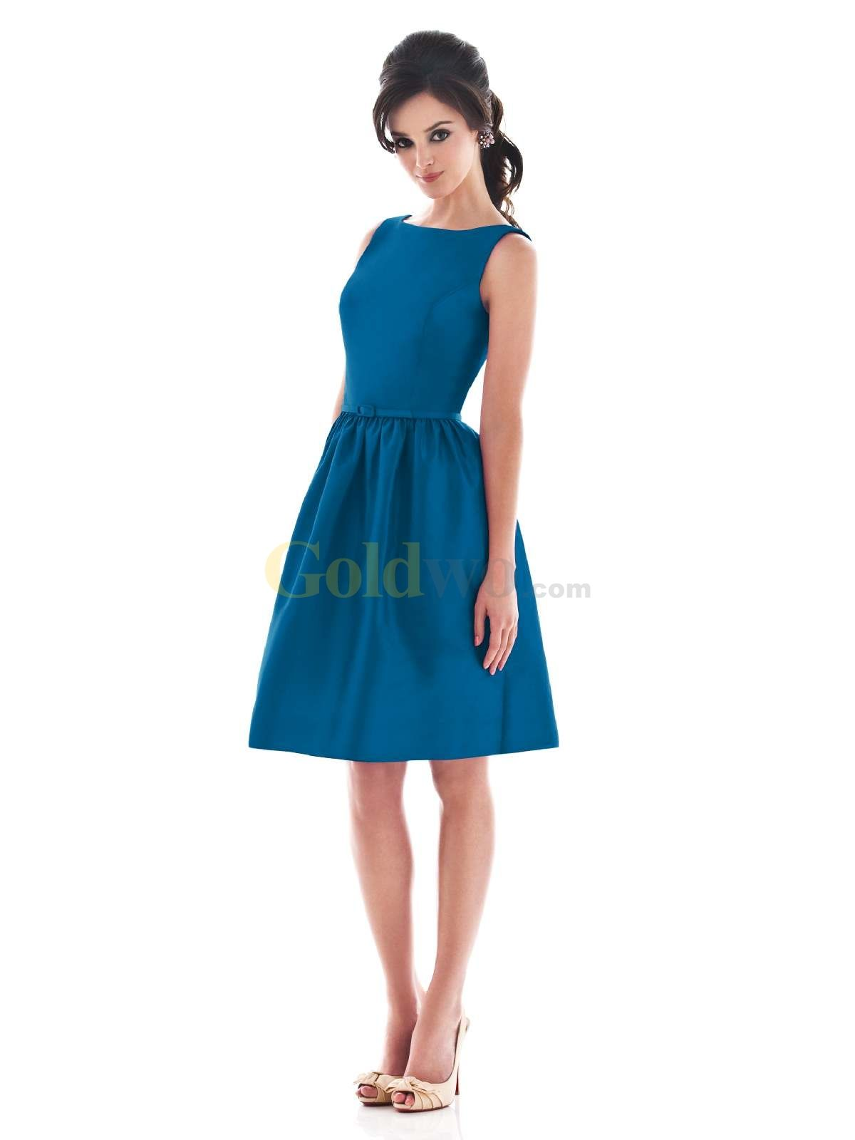 US$170.99] Blue Bateau Neck Satin Summer Cocktail Dress | Like it ...