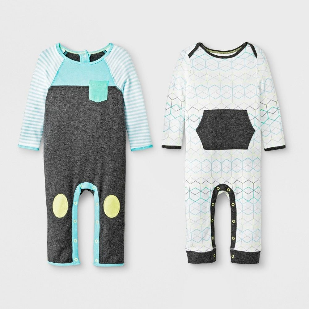 8607ce42454 Baby Boys  2pc Geo Romper Set - Cloud Island Gray Turquoise 6-9M ...