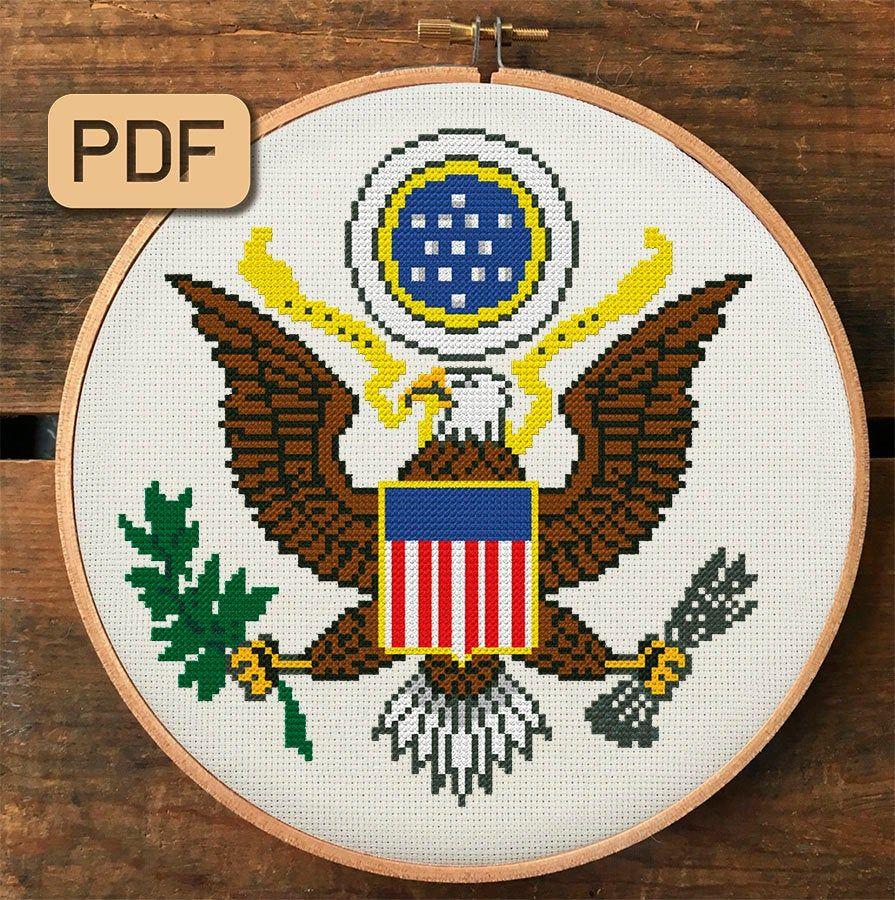 Usa Cross Stitch Pattern American Eagle Cross Stitch Pdf Coat Of