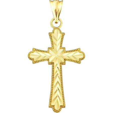 US Gold Handcrafted 10kt Gold Diamond-Cut Cross Charm Pendant
