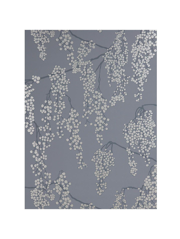 John Lewis & Partners Silver Berries Wallpaper, Steel