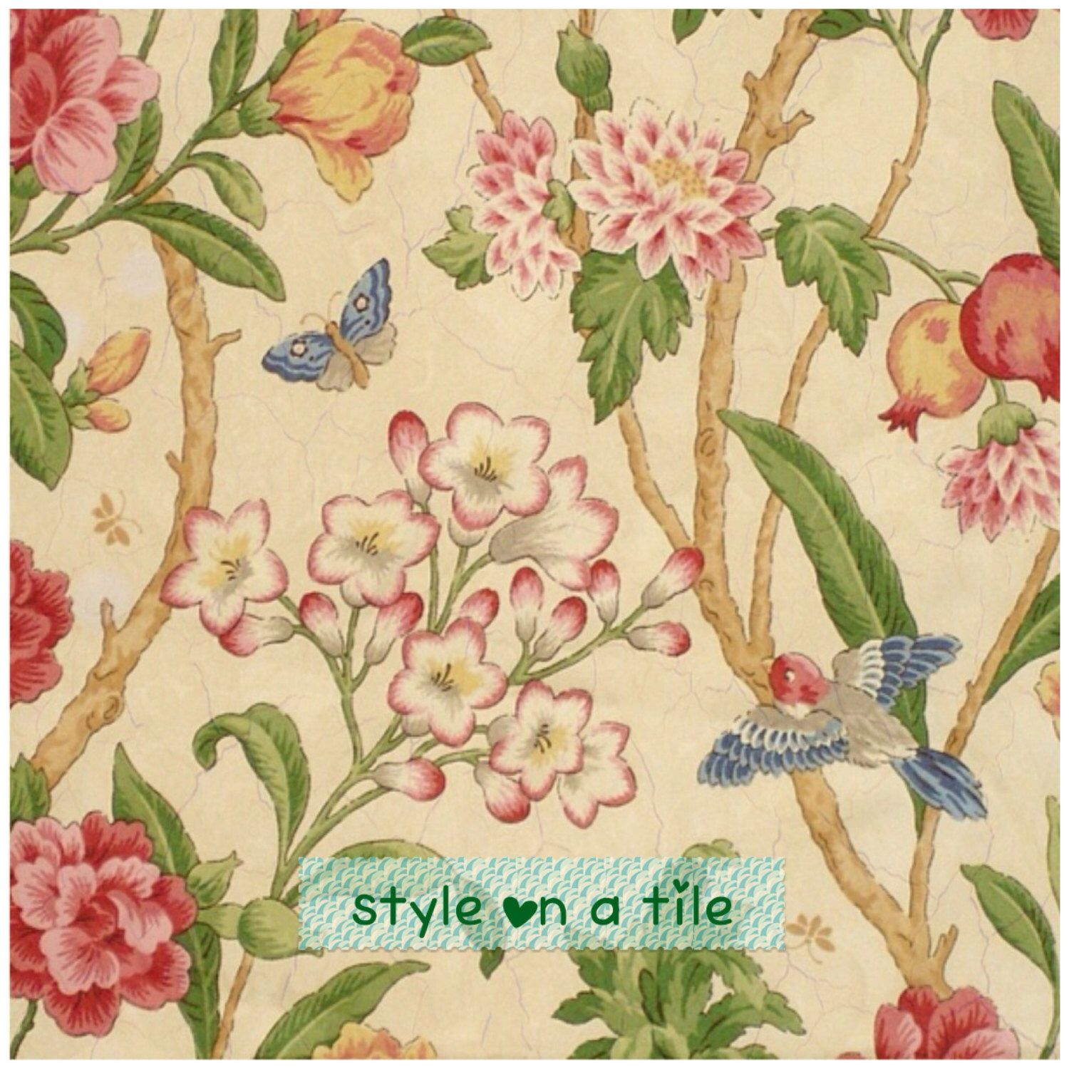 Lovely tropical bird butterfly flower shabby chic chintz large lovely tropical bird butterfly flower shabby chic chintz large ceramic tile trivet kitchen bathroom wall splash dailygadgetfo Images