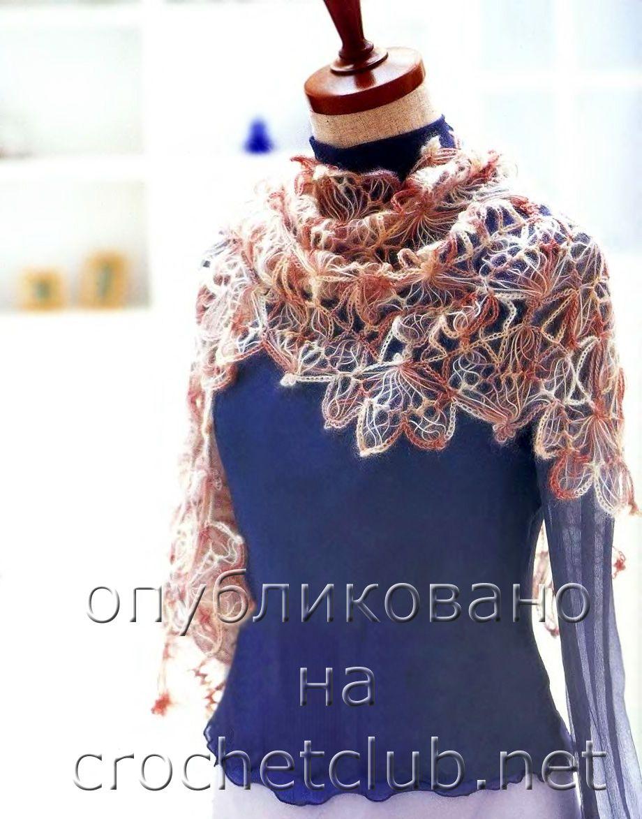 палантин из японского журнала | Crochet/Hairpin/de Grampo/Horquilla ...