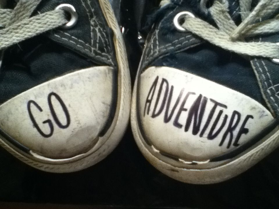 diy : write a quote or inspiration on your shoes. like an inspiration  tattoo: go adventure :)