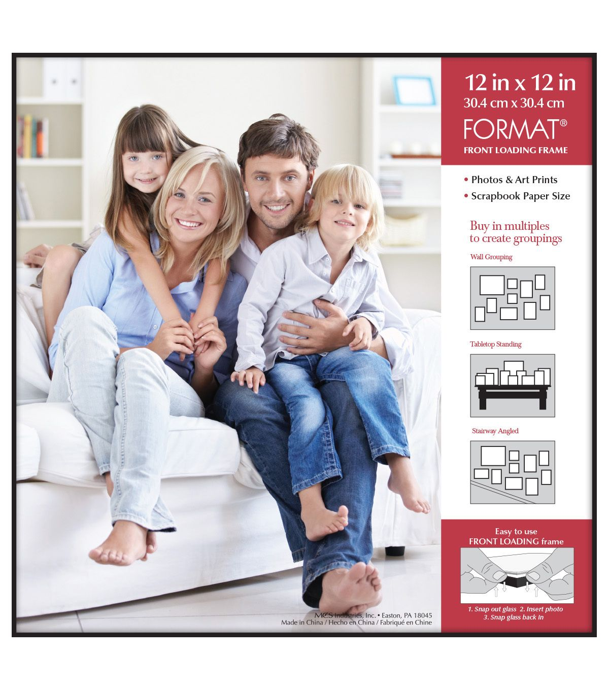 Mcs Industries Format Front Loading Wall Frame 12 X12 Black Family Posing Family Photos Photo