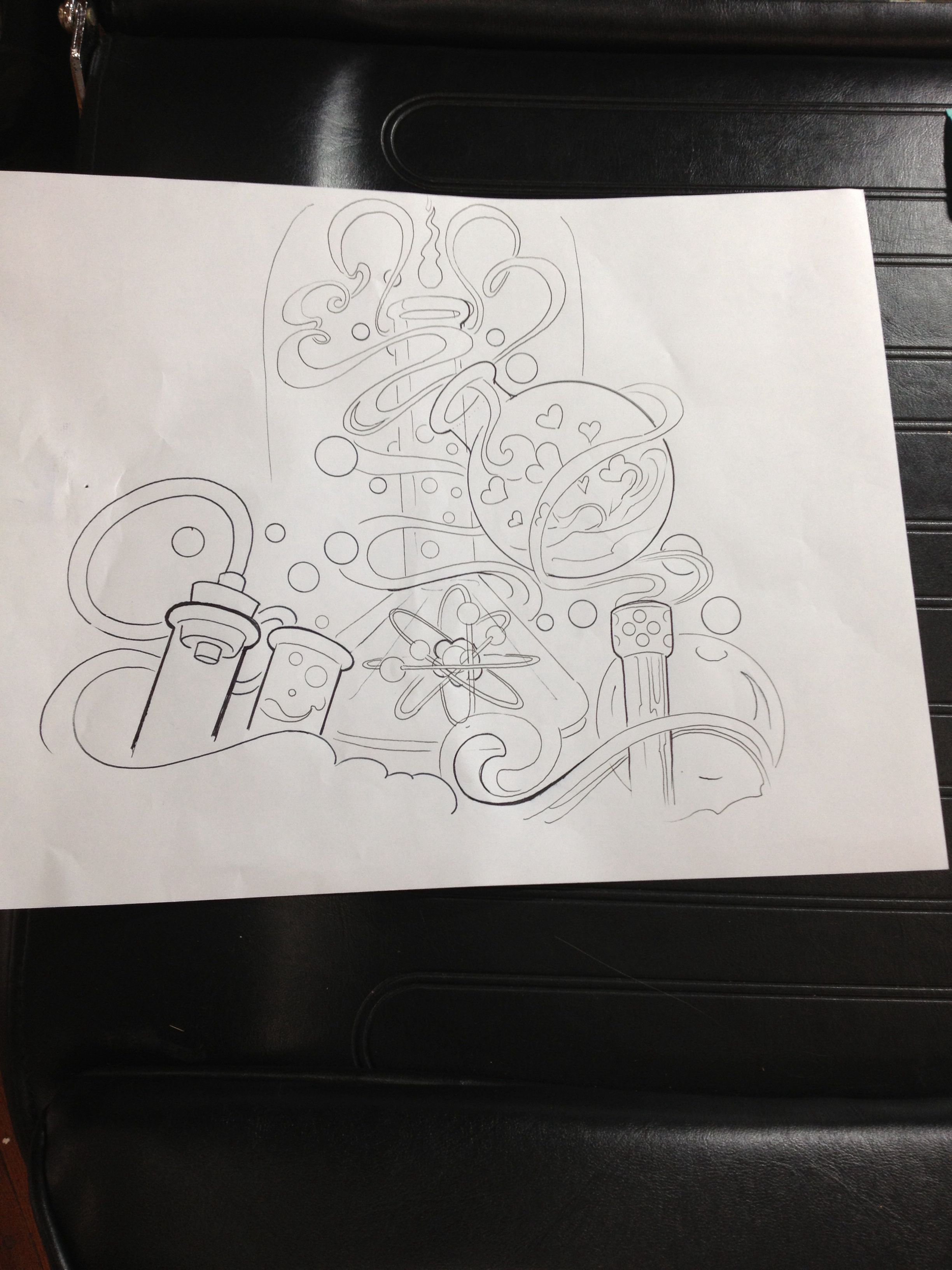 Chemistry Tattoo Layout Drawing. Health & Beauty
