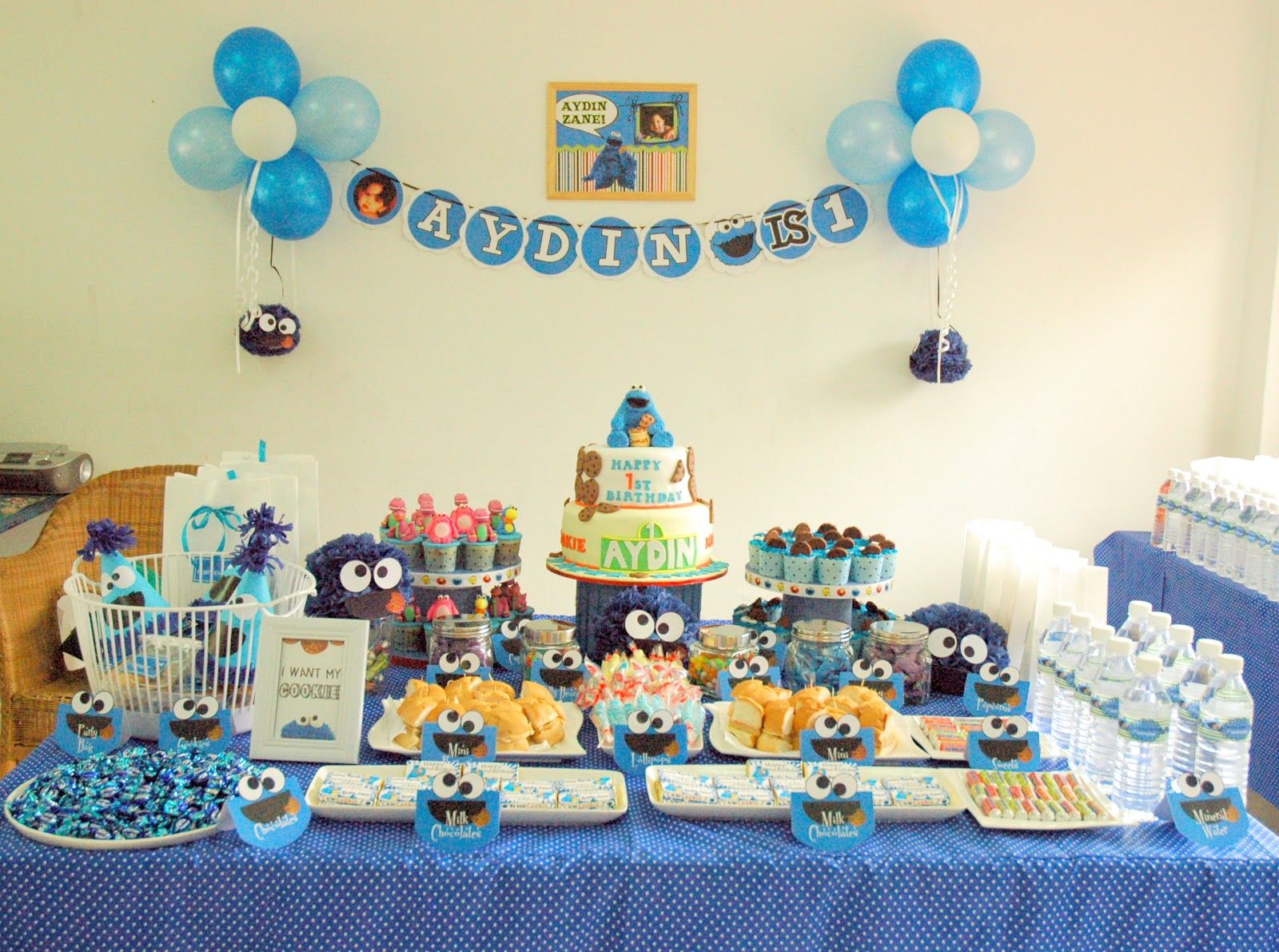 pinterest party or candy tables cakes cookie monster 1st birthday party