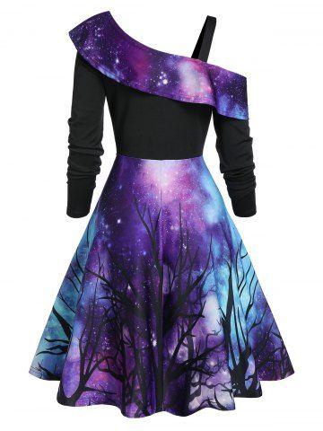 Halloween Starry Sky Pattern Skew Neck Dress
