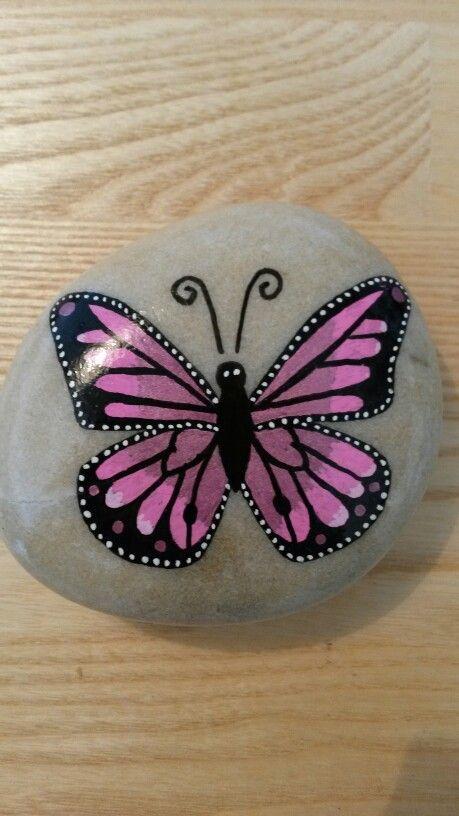 Sommerfugl Malet P 229 Sten Pretty In Pink Butterfly