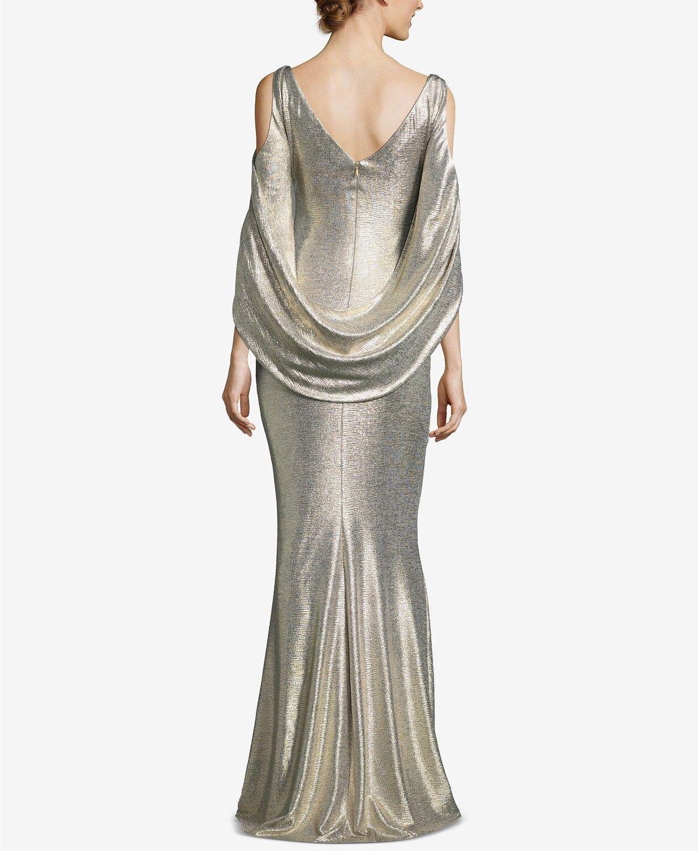 Betsy & Adam Metallic ColdShoulder Gown Dresses Women