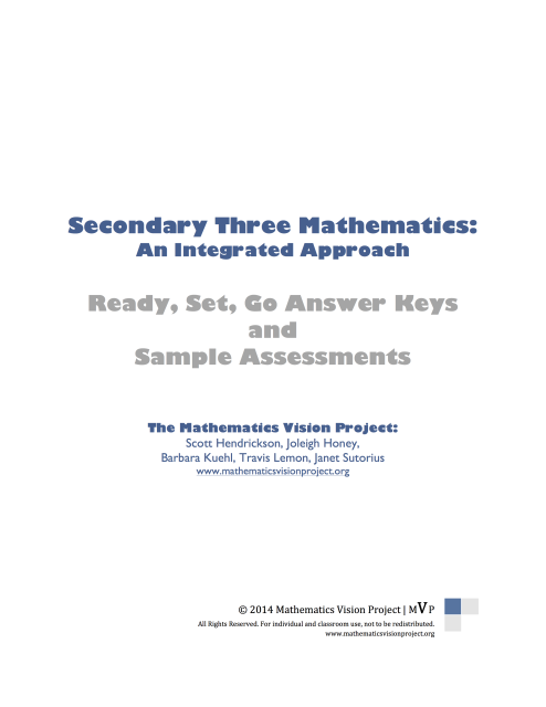 Featured Products Mathematics Assessment Answer Keys