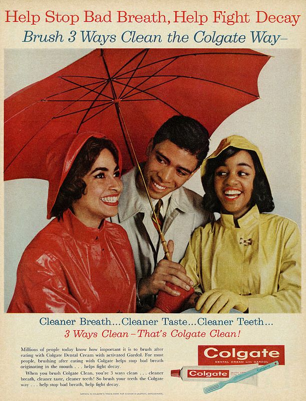 1962 Ad Colgate Toothpaste Girls Man In Raincoats Under Red