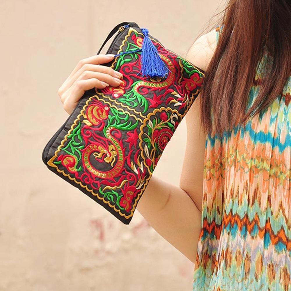 Premium Boho Chic Clutch Handbags Women Retro Ethnic Embroidered Wristlet Bag Handmade Purse Wallet Storage Bags