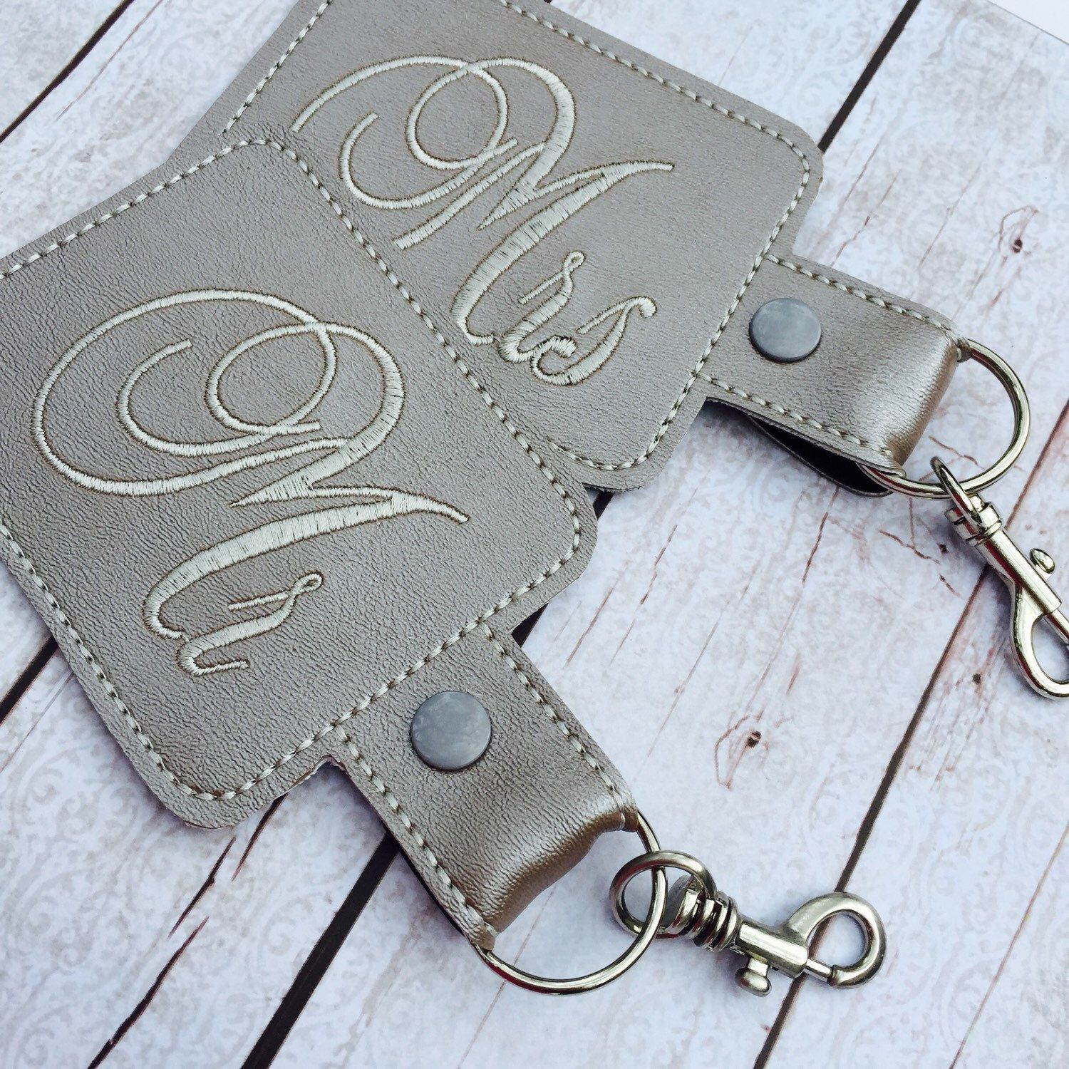 A personal favorite from my Etsy shop https://www.etsy.com/listing/247710394/mr-and-mrs-set-of-two-luggage-tags