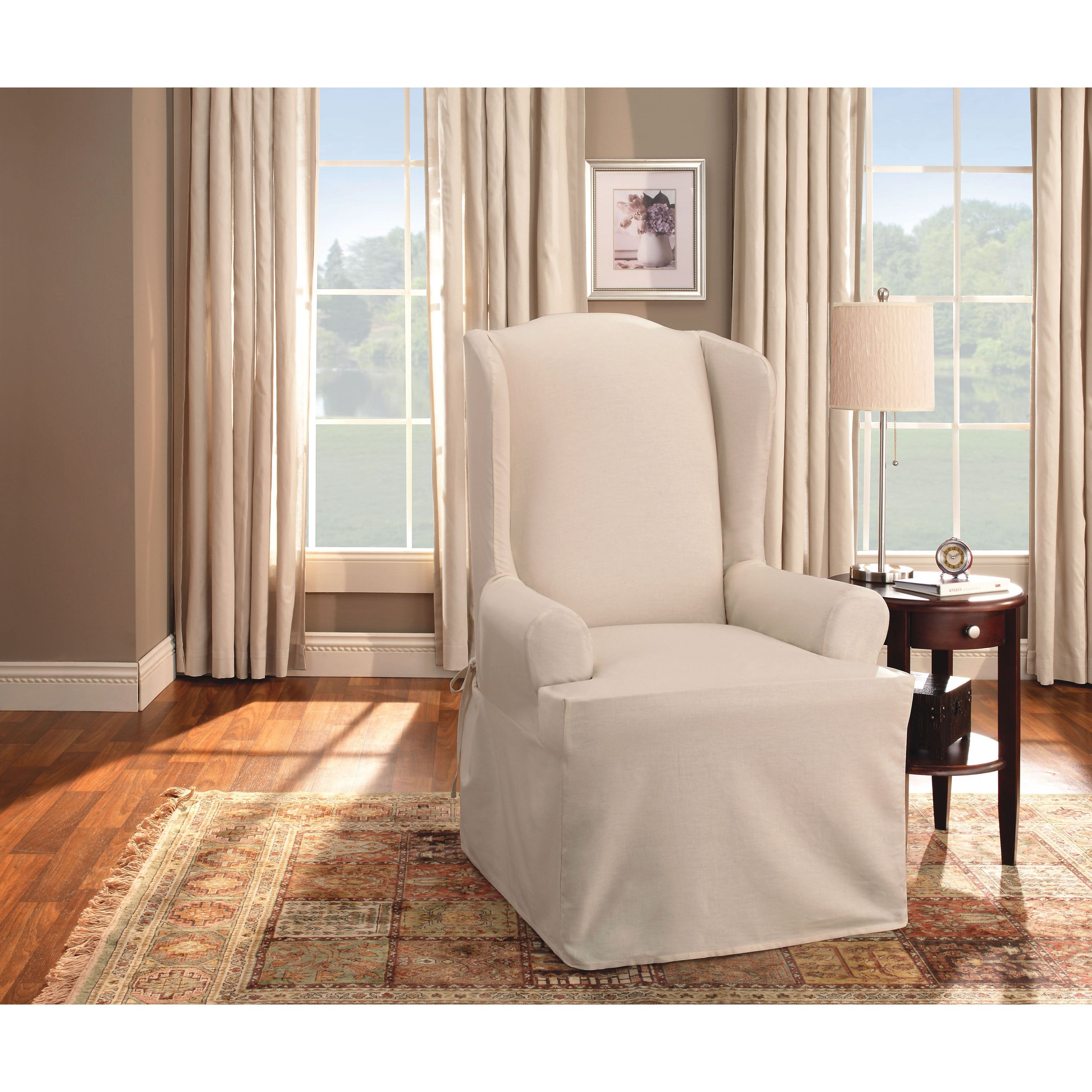 white cotton wing chair slipcover swivel chairs kijiji peterborough give new life to an old or unsightly with this