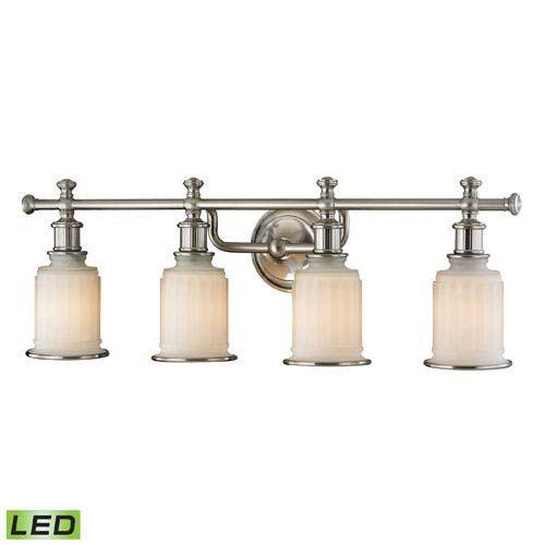 Photo of Elk Lighting 52003/4-LED Acadia LED bathroom lamp with four lights made of brushed nickel – brushed downlight, transition   Bellacor