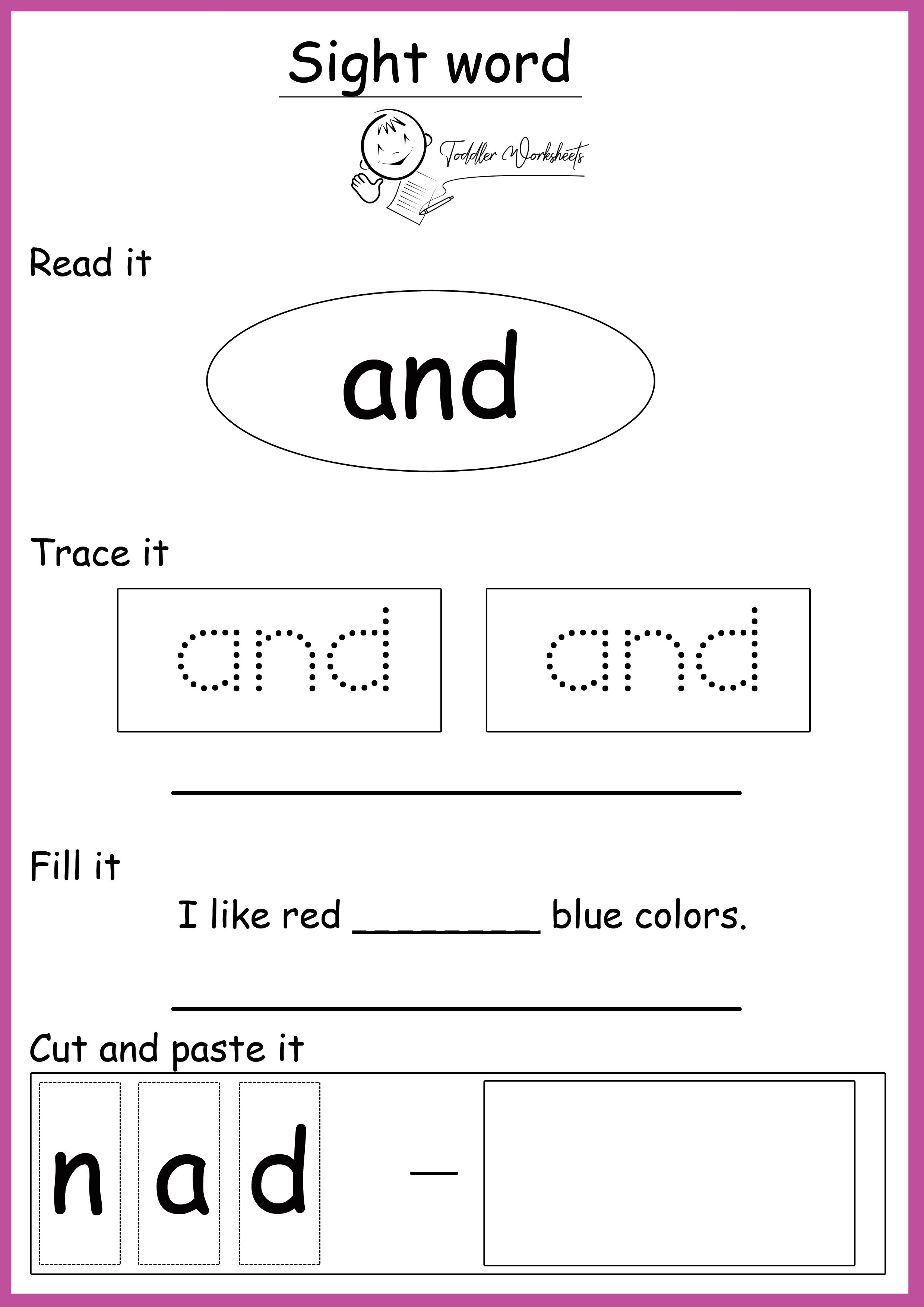 Free Preschool Site Words Worksheets