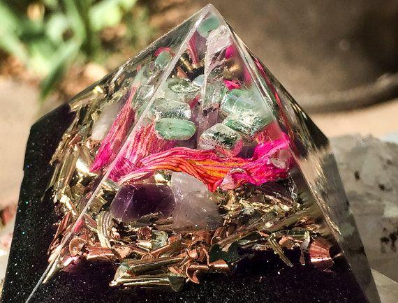 Heart Chakra Crystal Pyramid Orgone by VioletFlameOrgoneLA on Etsy