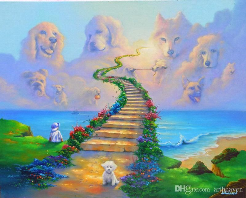 Fantasy Art Jim Warren Heaven Dog Oil Painting Print//Modern Art Deco On Canvas