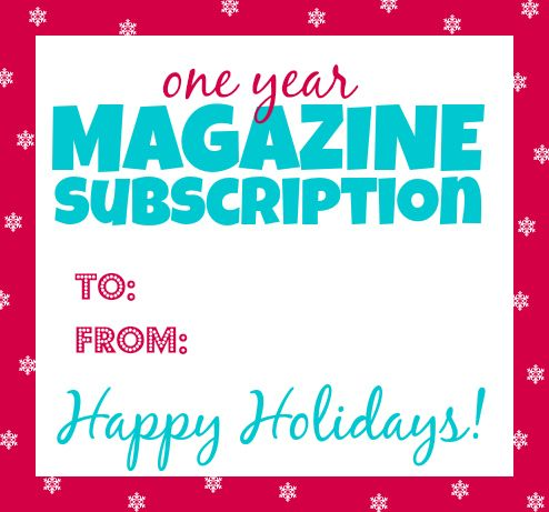 Free Printable Gift Tag For Magazine Subscriptions With Images