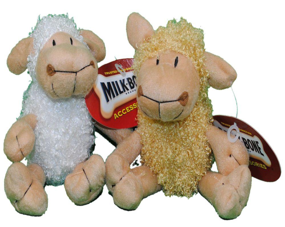 Set Of 2 Milkbone Curly Lamb Plush Dog Toys Squeaker Plush Dog