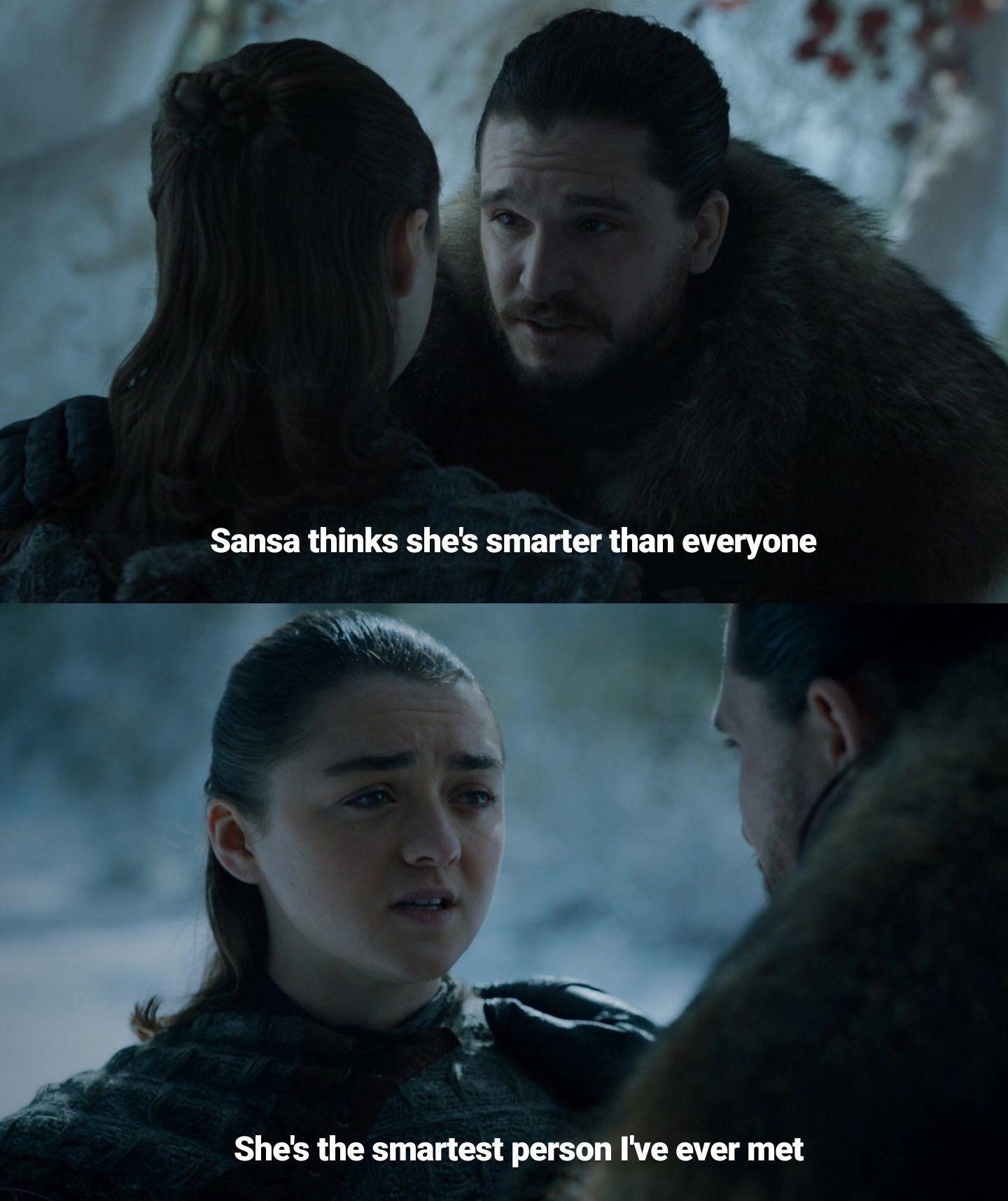 Jon and Arya, Episode 1, Season 8, Game of Thrones. Memy