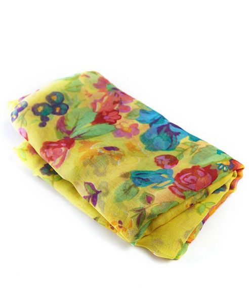Yellow Floral Print Cotton Scarf