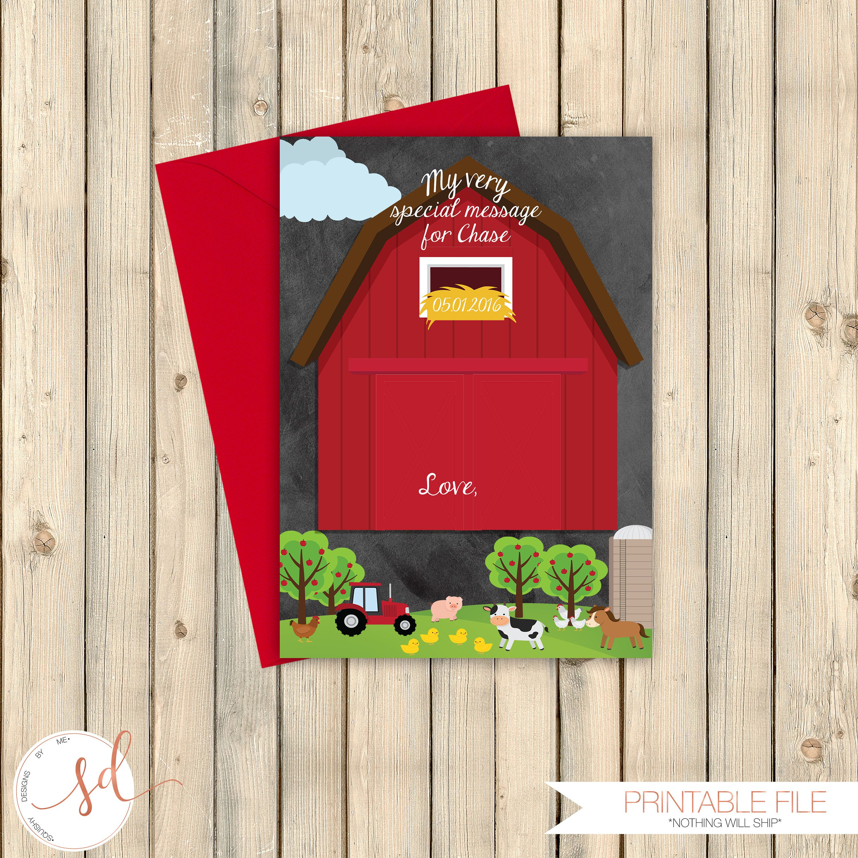 Time Capsule Message Notecard, Barnyard First Birthday Guestbook Message Card, Farm First Birthday Chalkboard, Old McDonald Birthday Digital by SquishyDesignsbyMe on Etsy
