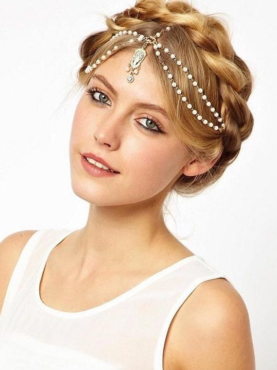 Fashion Chain Women Jewelry Rhinestone Lace Headband Headwear Pearl Hairband