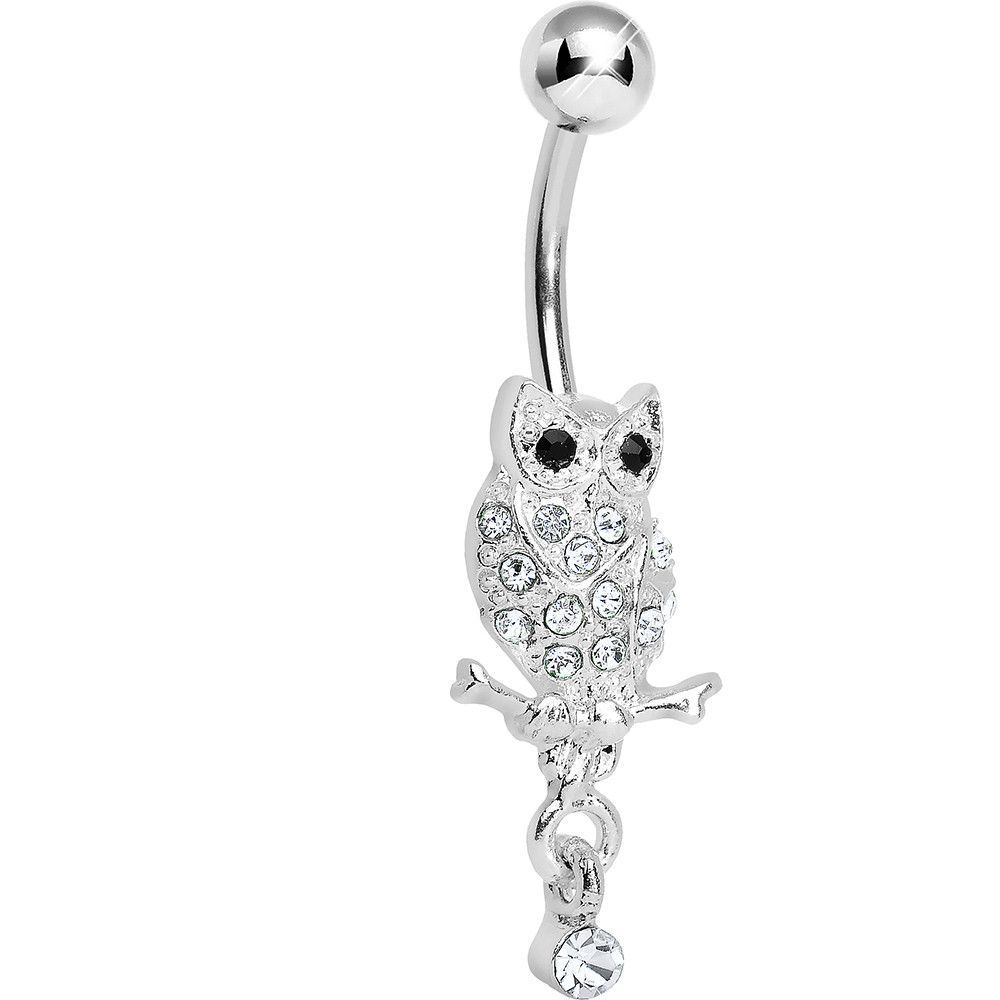 Lower Mount Paved Clear Gem Owl Belly Ring