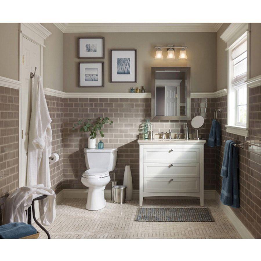 Shop Portfolio 3-Light Trent Brushed Nickel Bathroom ...
