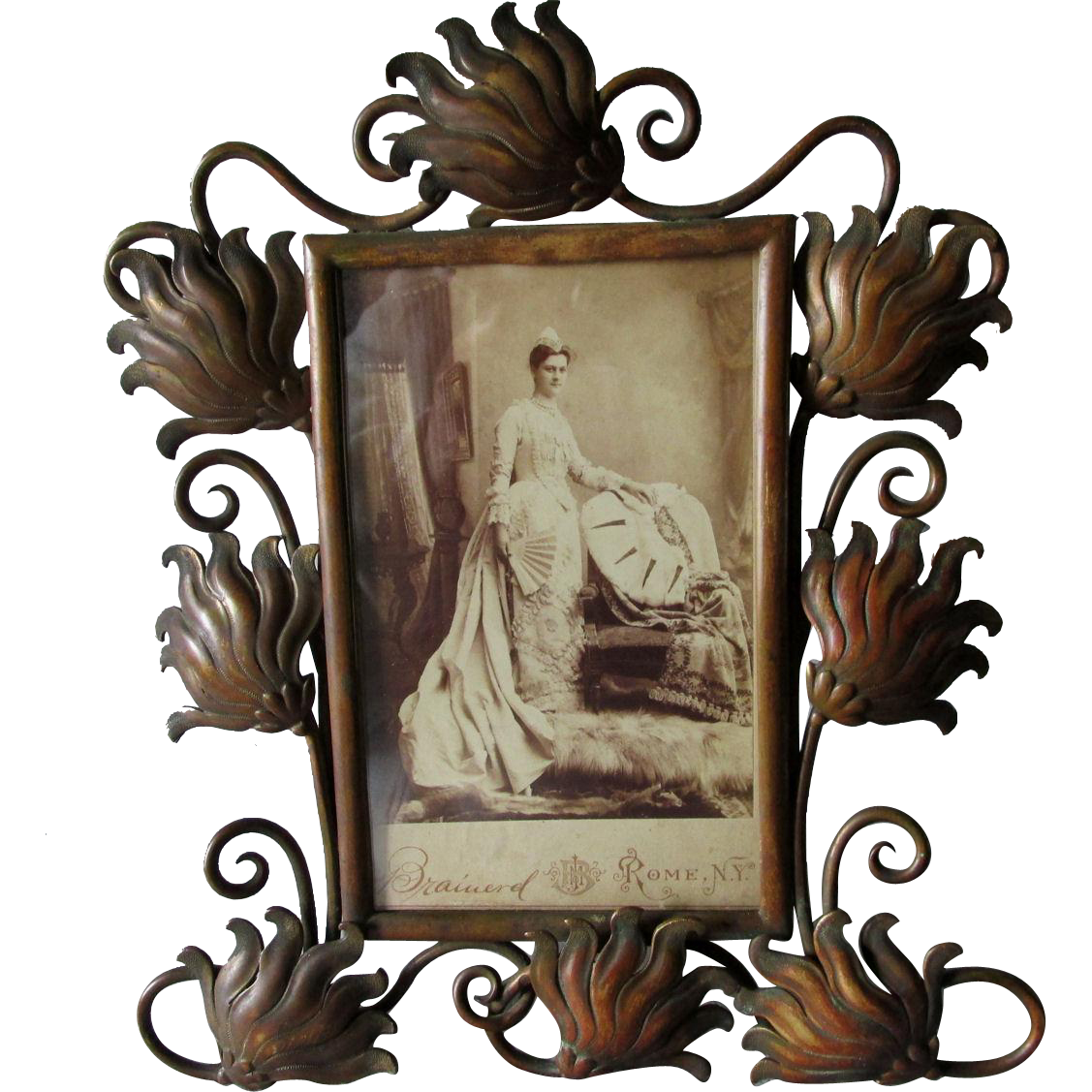 Lovely C1880s Bronze Art Nouveau, Victorian Picture Frame
