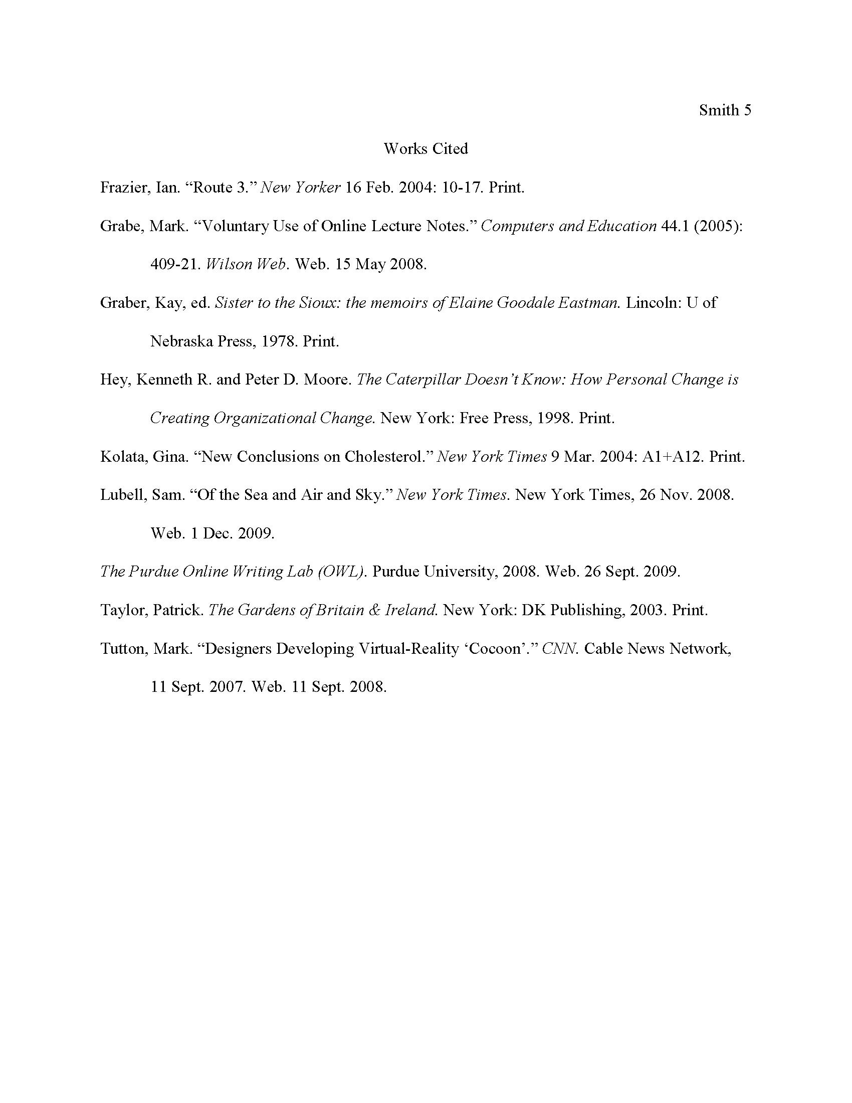 Sample Works Cited Page Worksheet