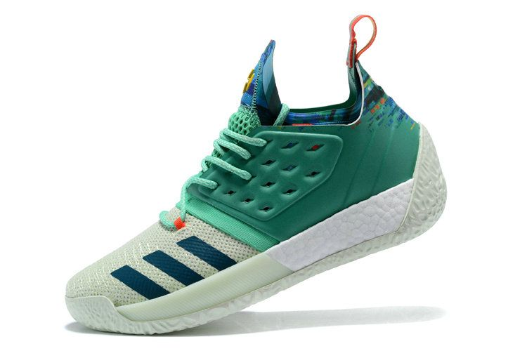 414e41256945 adidas Harden Vol 2 Vision All-Star Mens Basketball Shoes B28106 White  Green Multi-Color