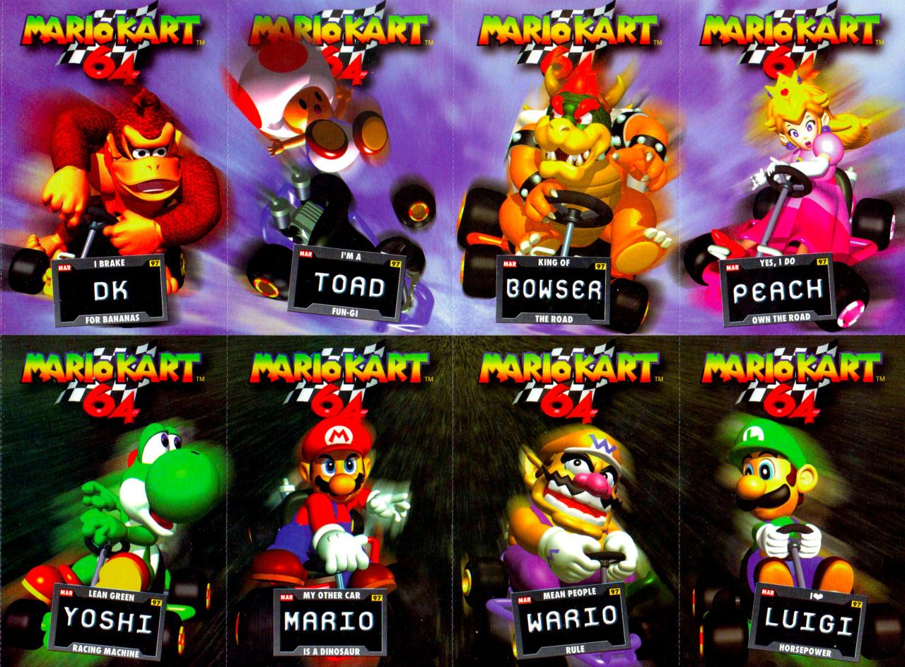 Mario Kart 64 S Roster Mario Kart 64 Mario Kart Mario
