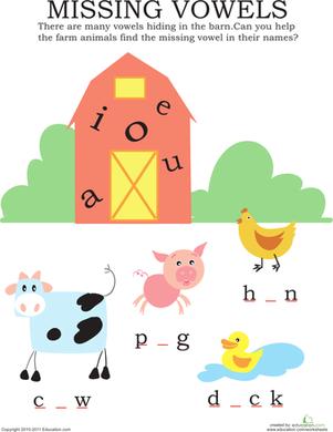 missing vowels farm animals mp k week 2 kindergarten reading kindergarten education. Black Bedroom Furniture Sets. Home Design Ideas