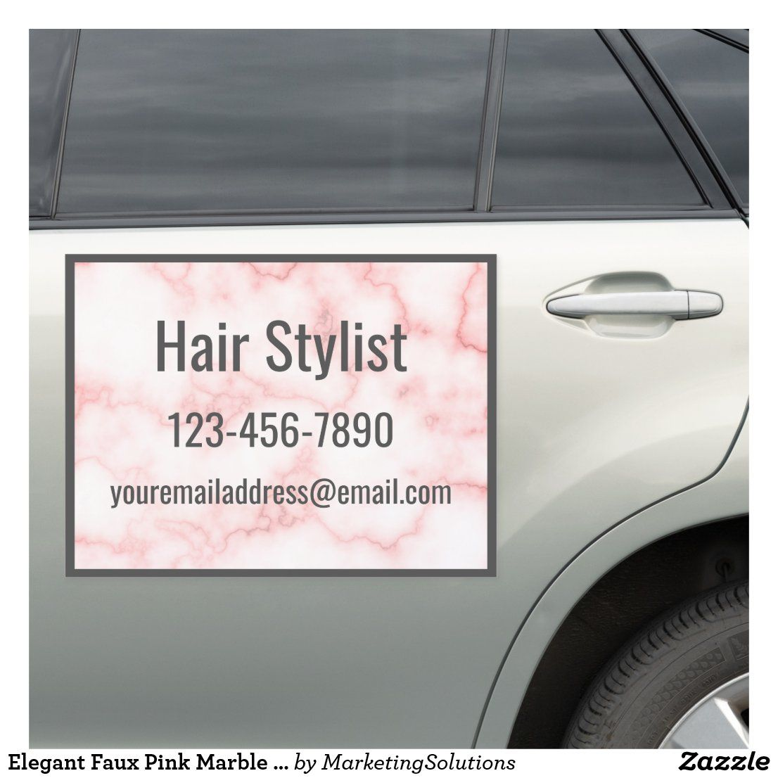 Elegant Faux Pink Marble Promotional Hair Stylist Car Magnet Zazzle Com Pink Marble Car Magnets Bumper Stickers [ 1106 x 1106 Pixel ]