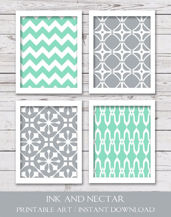 PRINTABLE Art, Printable Wall Art, Printable Art Set, Mint and Gray Art, Chevron Art, Bathroom Art, Bedroom Art, INSTANT DOWNLOAD is part of bedroom Art Printables -  300 dpi • 4 JPEG files • Due to differences in monitor settings, the colors on your screen may differ slightly from the printed art   DELIVERY • Files are available for instant download  (No physical items will be sent ) You will receive an email with a link to your product downloads once payment is complete  You may also access your downloads by viewing your Etsy Purchases page  TERMS OF USE • For personal use only  Print as many times as you wish, but please do not resell or share files, or sell the printed art  Thanks so much!