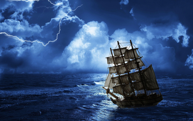 Hd Pirate Ship Wallpaper: Ghost Ship Sea Wallpaper [28801800]