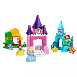 The 63-piece LEGO Duplo Disney Princess Collection includes Duplo figures of Cinderella, Ariel, and Snow White along with models of Cinderella's castle, Ariel's undersea world, and Snow White's cottage.