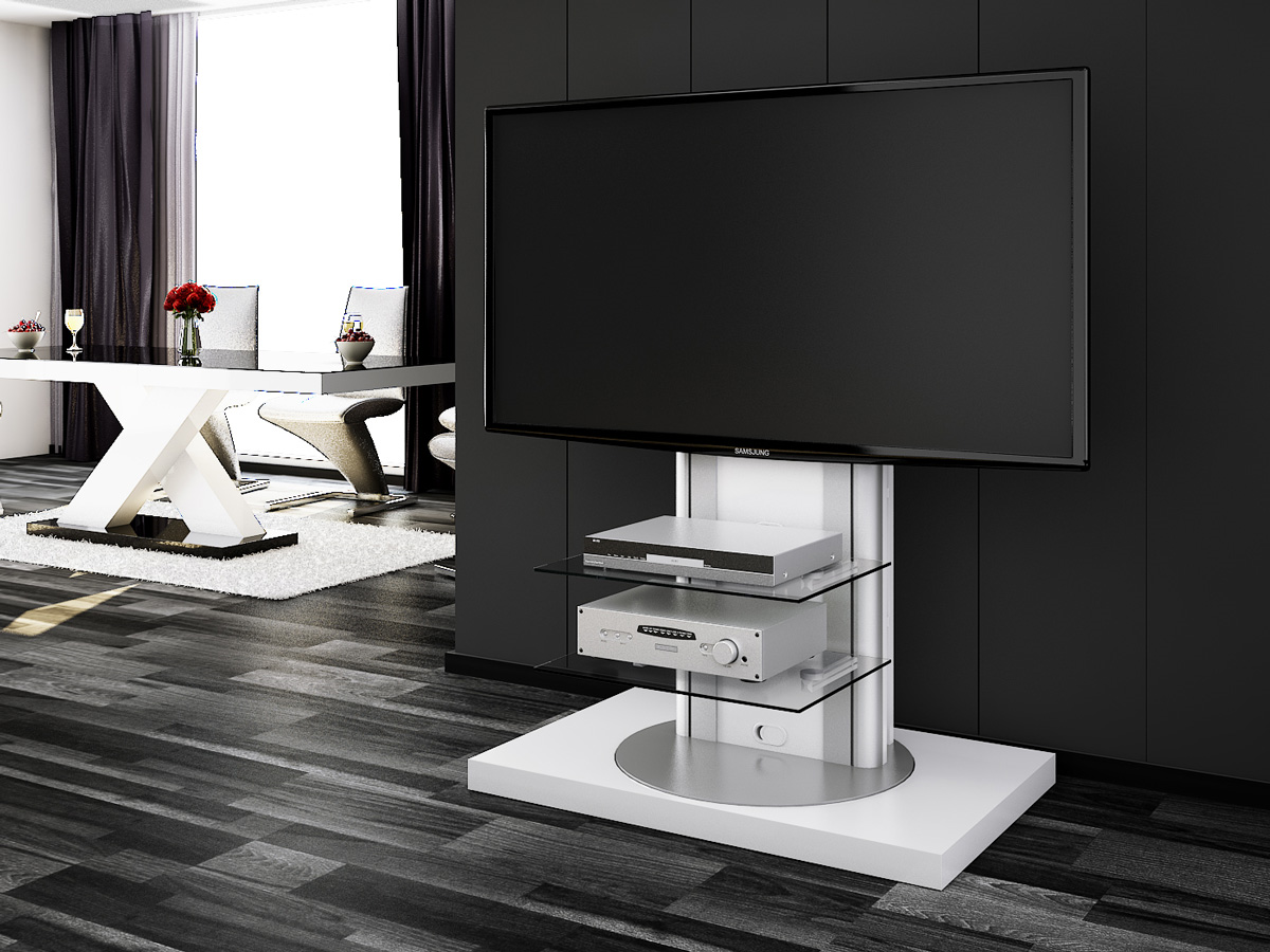 Roma White Swivel High Gloss Tv Stand Modern Tv Stands Tv  # Meuble Tv Roma