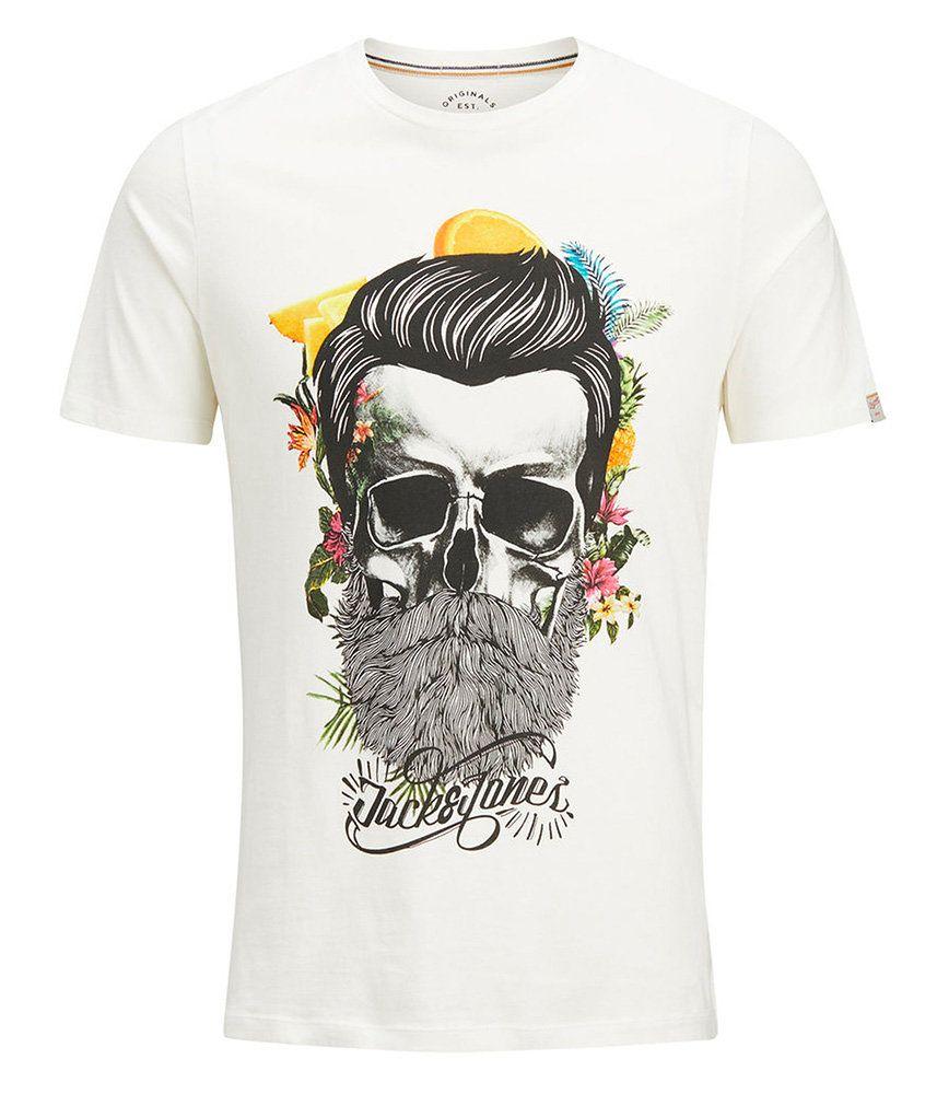37b8fed756743 T-shirt Blanc Imprimé Tête de Mort - Mode Homme - Slim - JACK & JONES |  Coup de Coeur mode
