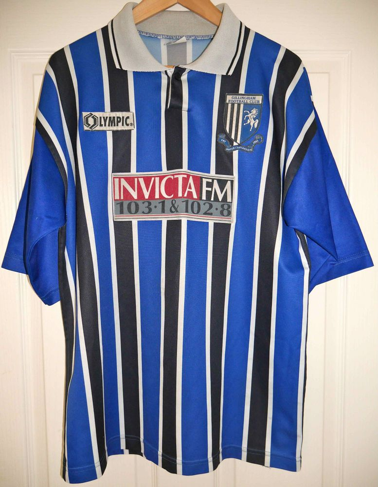 VINTAGE GILLINGHAM HOME FOOTBALL SHIRT OLYMPIC 95-96 RARE MENS LARGE faacbf3d948ac